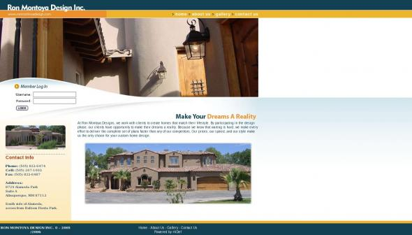 Ron Montoya Designs homepage screenshot