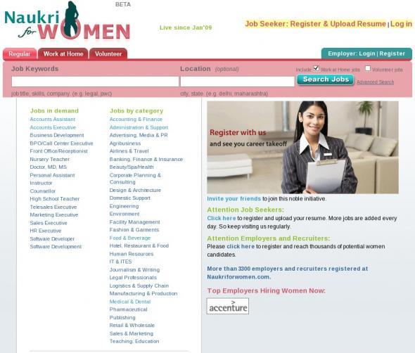 Naukriforwomen.com Homepage screenshot